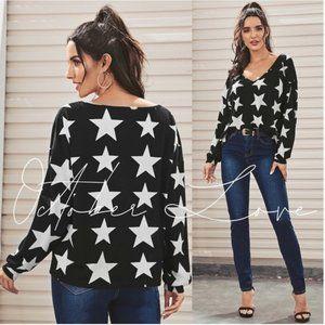 🥳🎉 WKND SALE! Black V-Neck Top w/White Stars